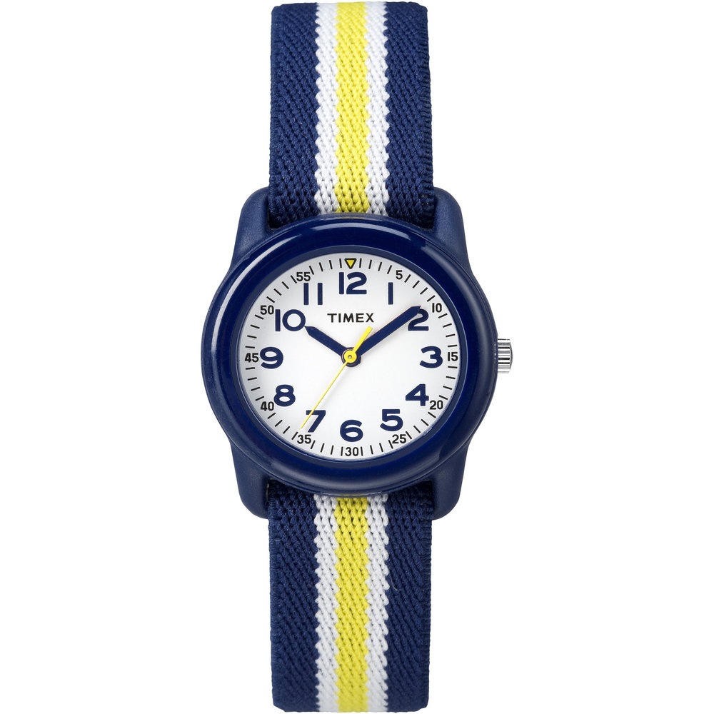 watch for kids with quartz movement - White dial with large numbers, with mineral crystal and fabric band
