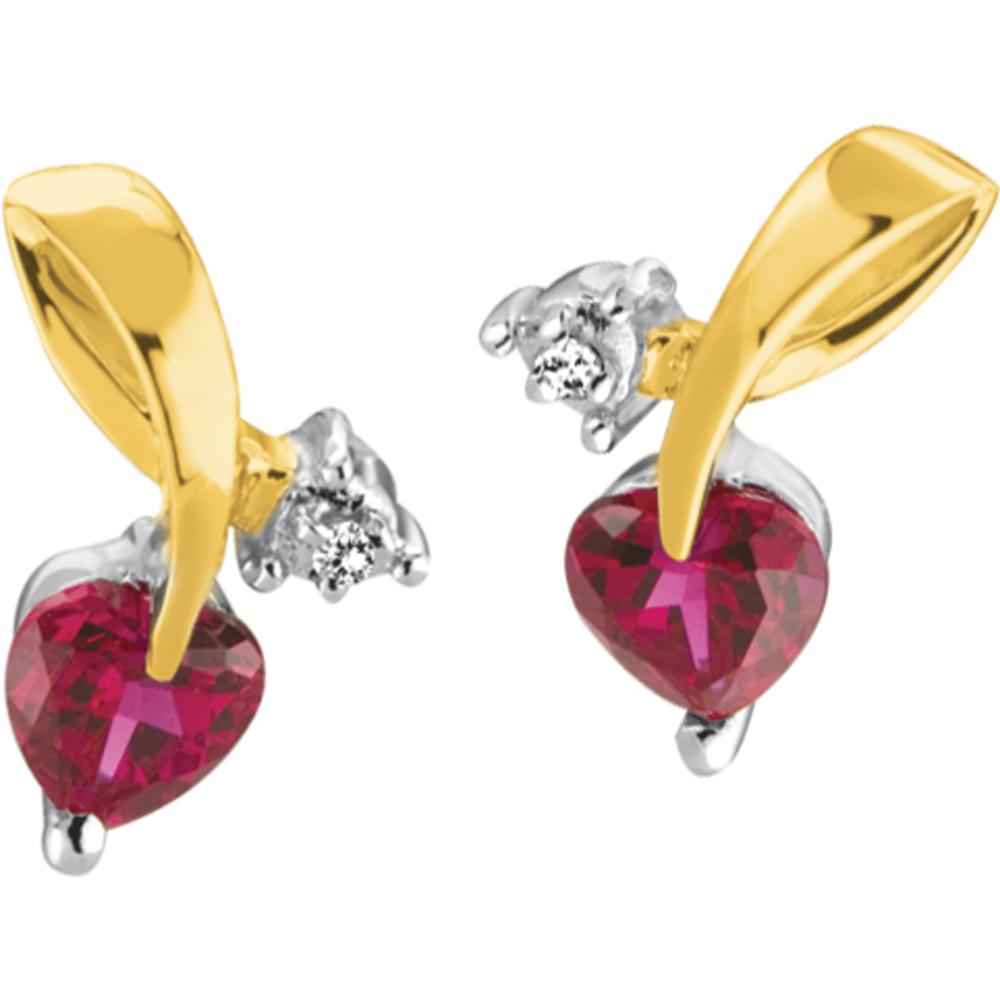 Boucles d'oreilles pour femme - Or jaune 10K & Rubis laboratoireet Diamant totalisant 1 point