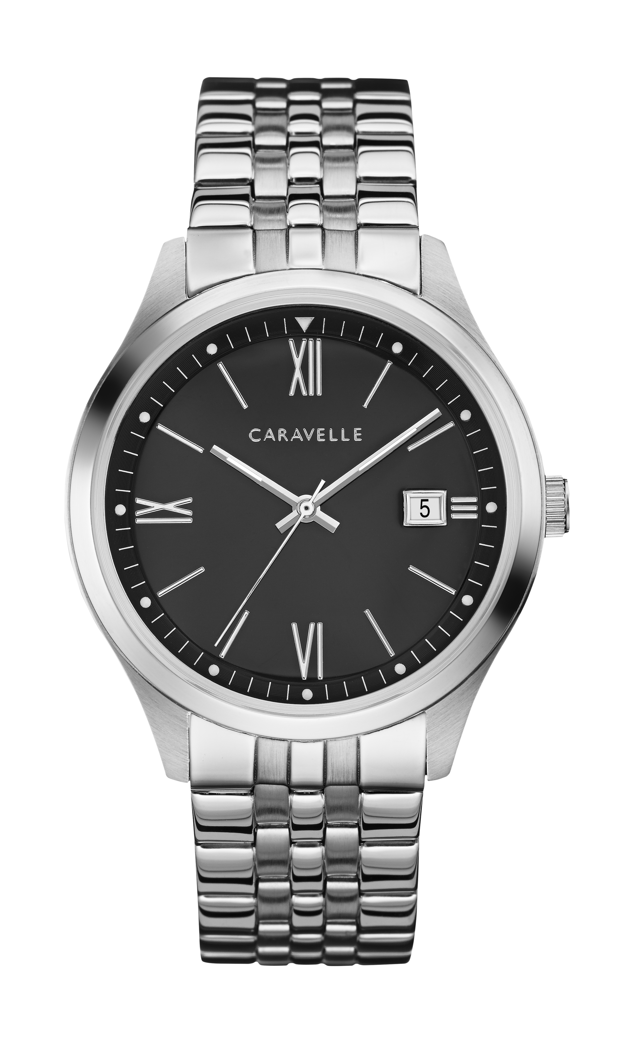NY Watch for Man - Stainless steel & Black dial with roman numerals
