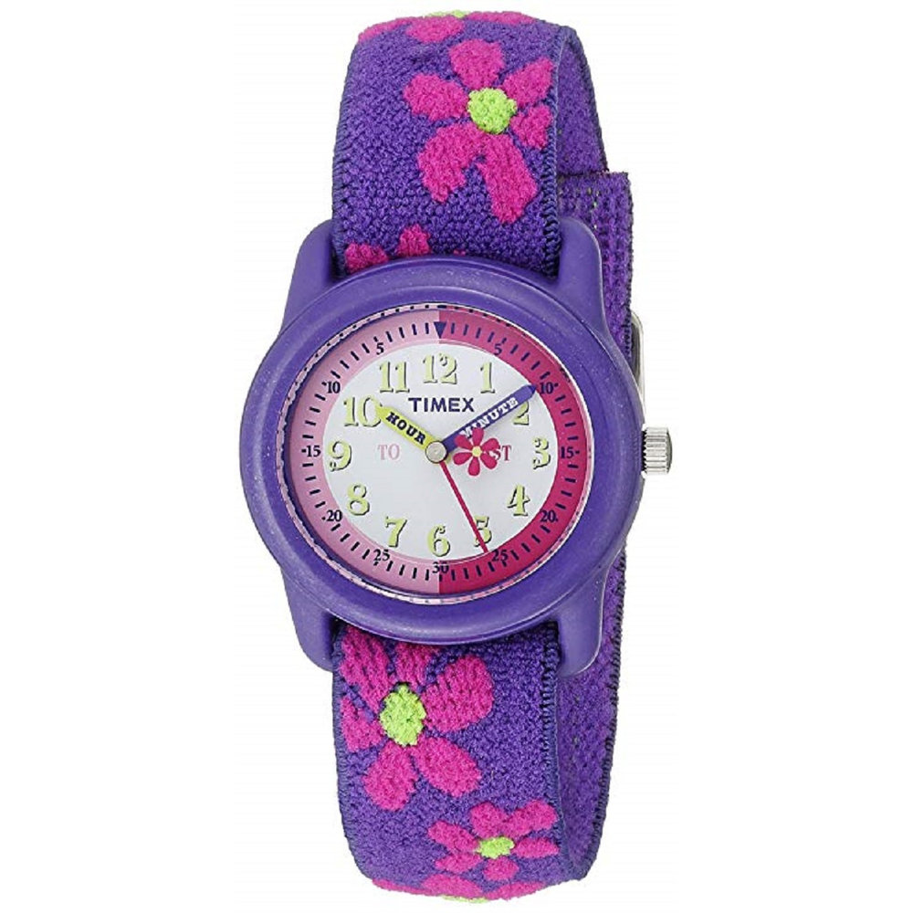 watch with quartz movement for kids - Flower patterned fabric band