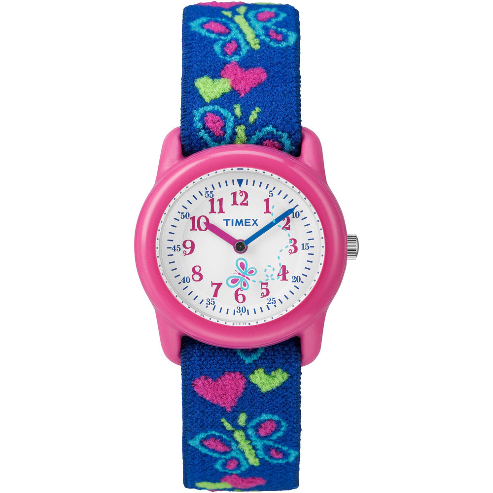 watch with quartz movement for kids - Heart and butterfly patterned fabric band