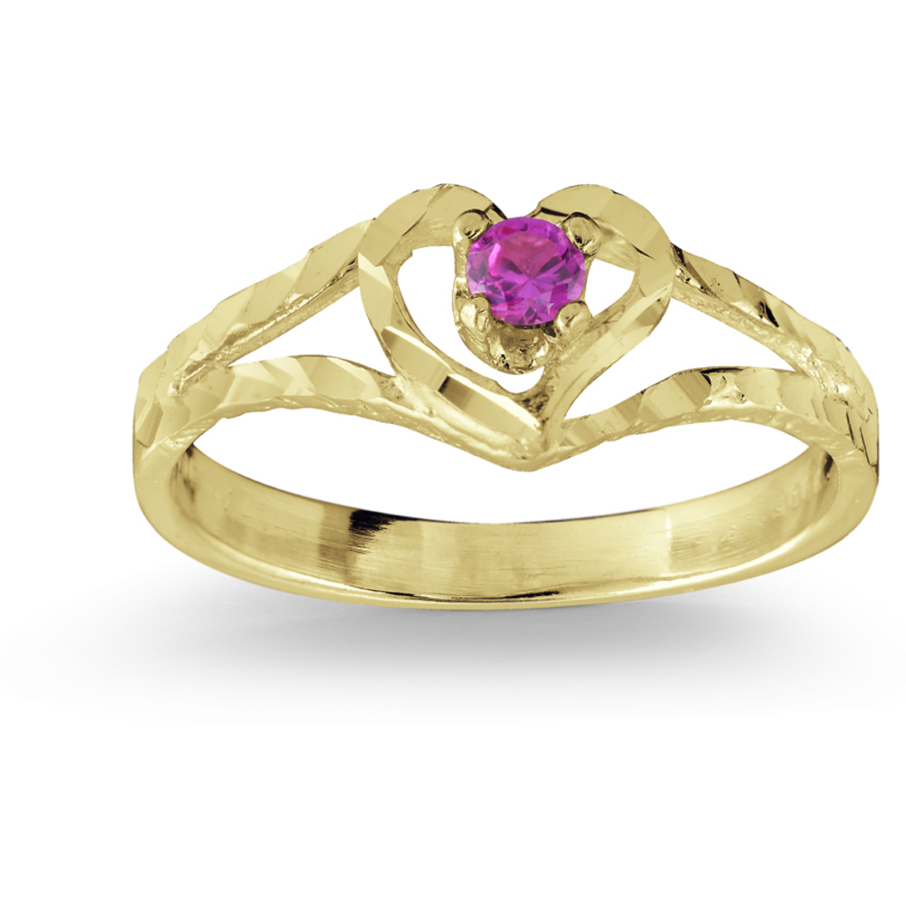 Young girl's birthstone heart ring - 10K yellow Gold