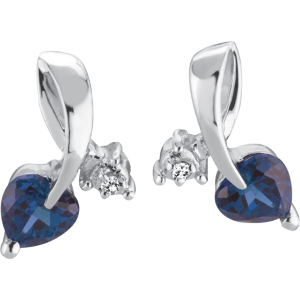 Stud earrings for woman - 10K white Gold WITH DIAMOND & CREATED sapphire