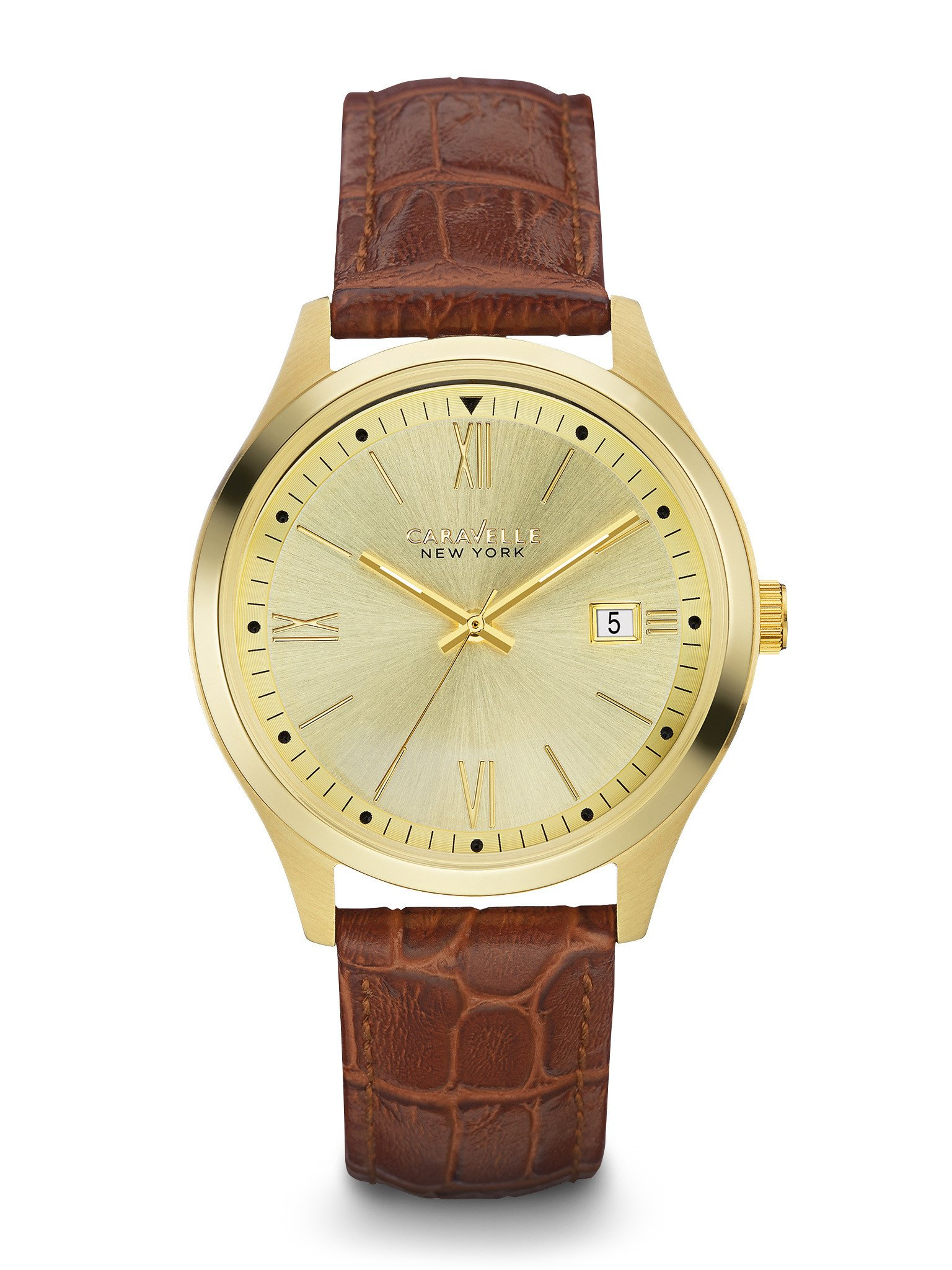 New York watch for men - Champagne dial & Brown leather strap