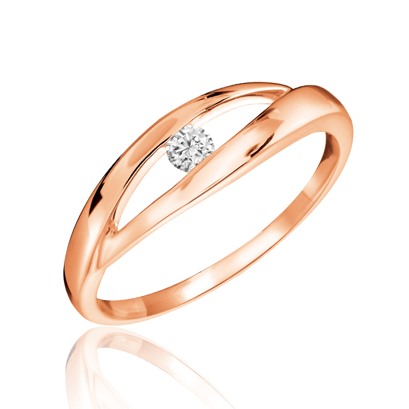 Ring set with a diamond 0.10 Carats T.W. Quality:I Color:GH - in 10K rose gold