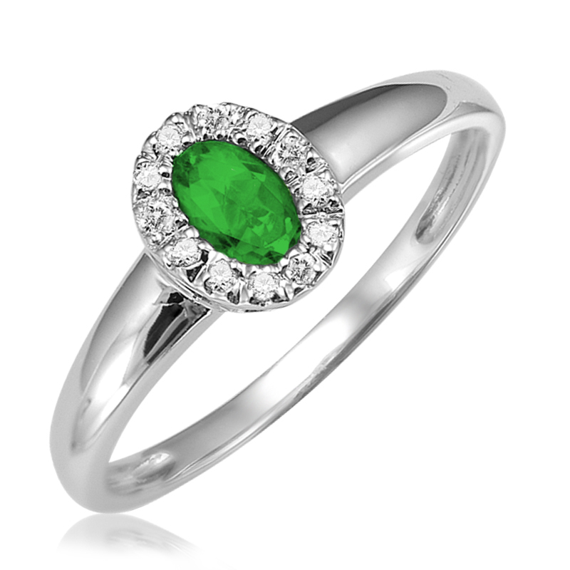 Ring for woman -  10K white gold with Diamonds & Emerald