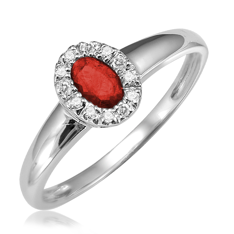 Ring for women - 10K white gold with Diamonds & Ruby