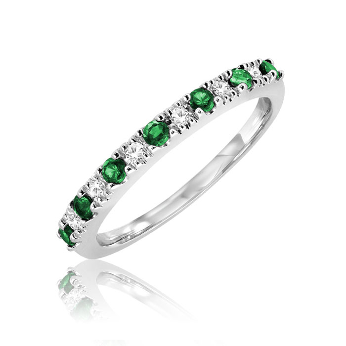 Band set with diamonds 0.07 Carats T.W. Quality:I Color:GH and with emeralds - in 10K white gold