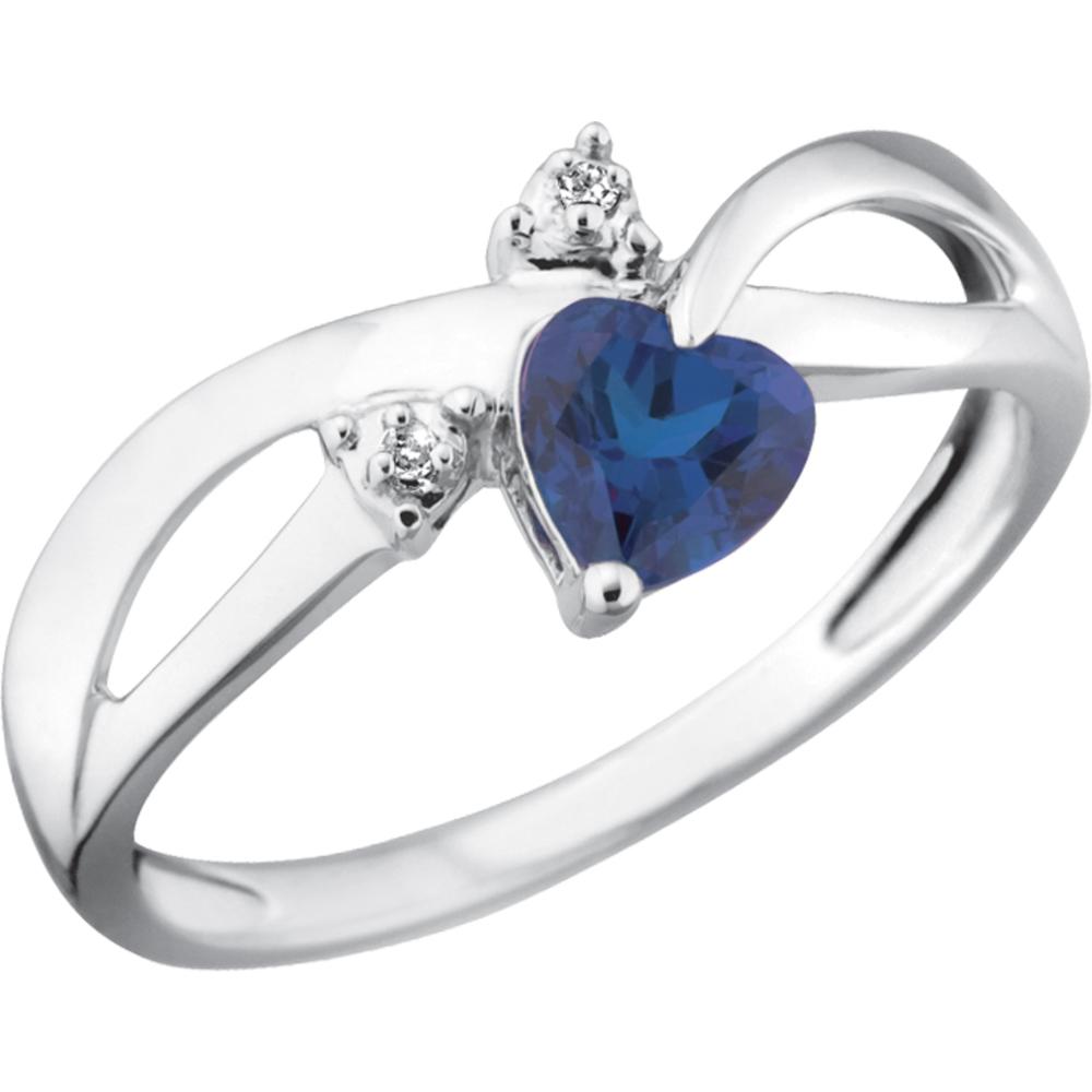 Bague Saphir Bleu de Laboratoire pour femme - Or blanc 10K & Diamants totalisant 1pt