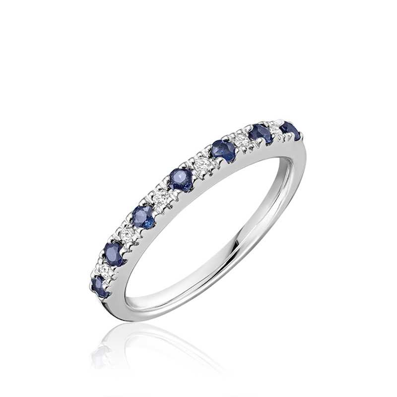 Band set with sapphires for women -10K White Gold & diamonds 0.07 Carats T.W.