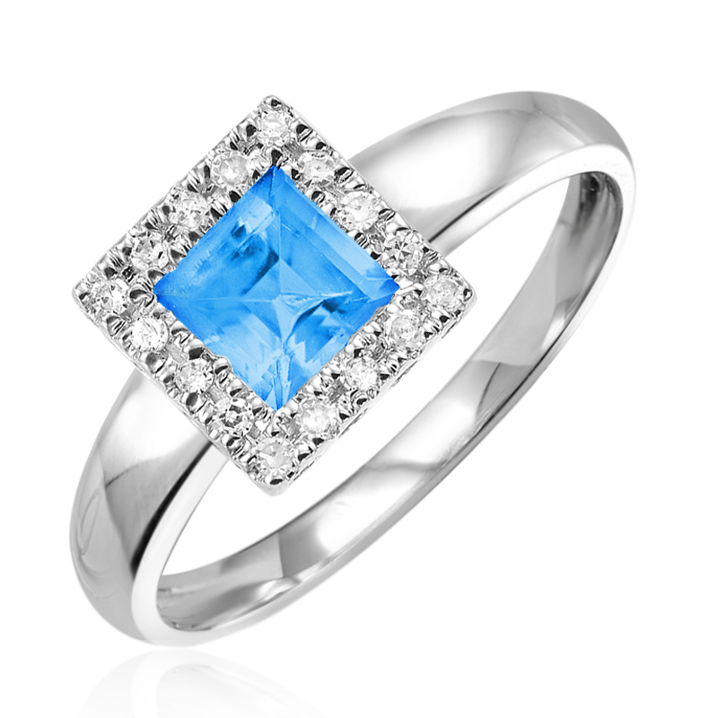 Ring set with diamonds 0.08 Carats T.W. Quality:I Color:GH and with a blue topaz - in 10K white gold
