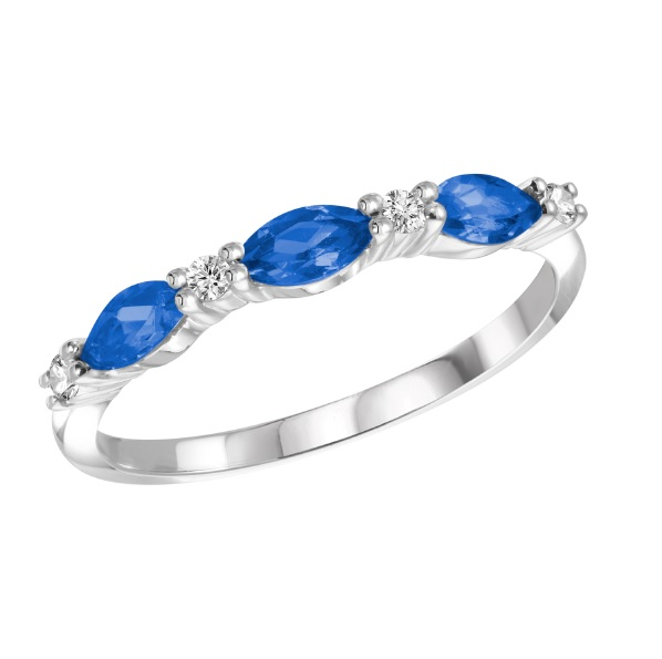 Band set with sapphires for women - 10K white Gold & diamonds 0.07 Carats T.W.