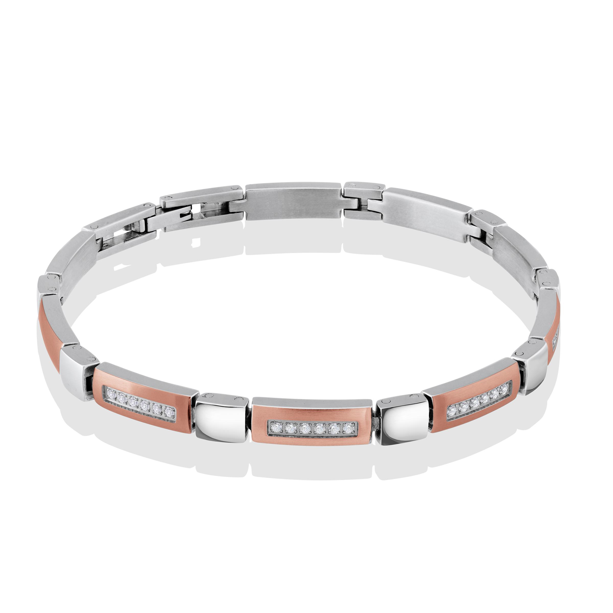 Women's bracelet - 2-tone stainless steel & cubic zirconia
