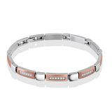 Bracelet pour femme - Acier inoxydable 2-tons & zircons cubiques