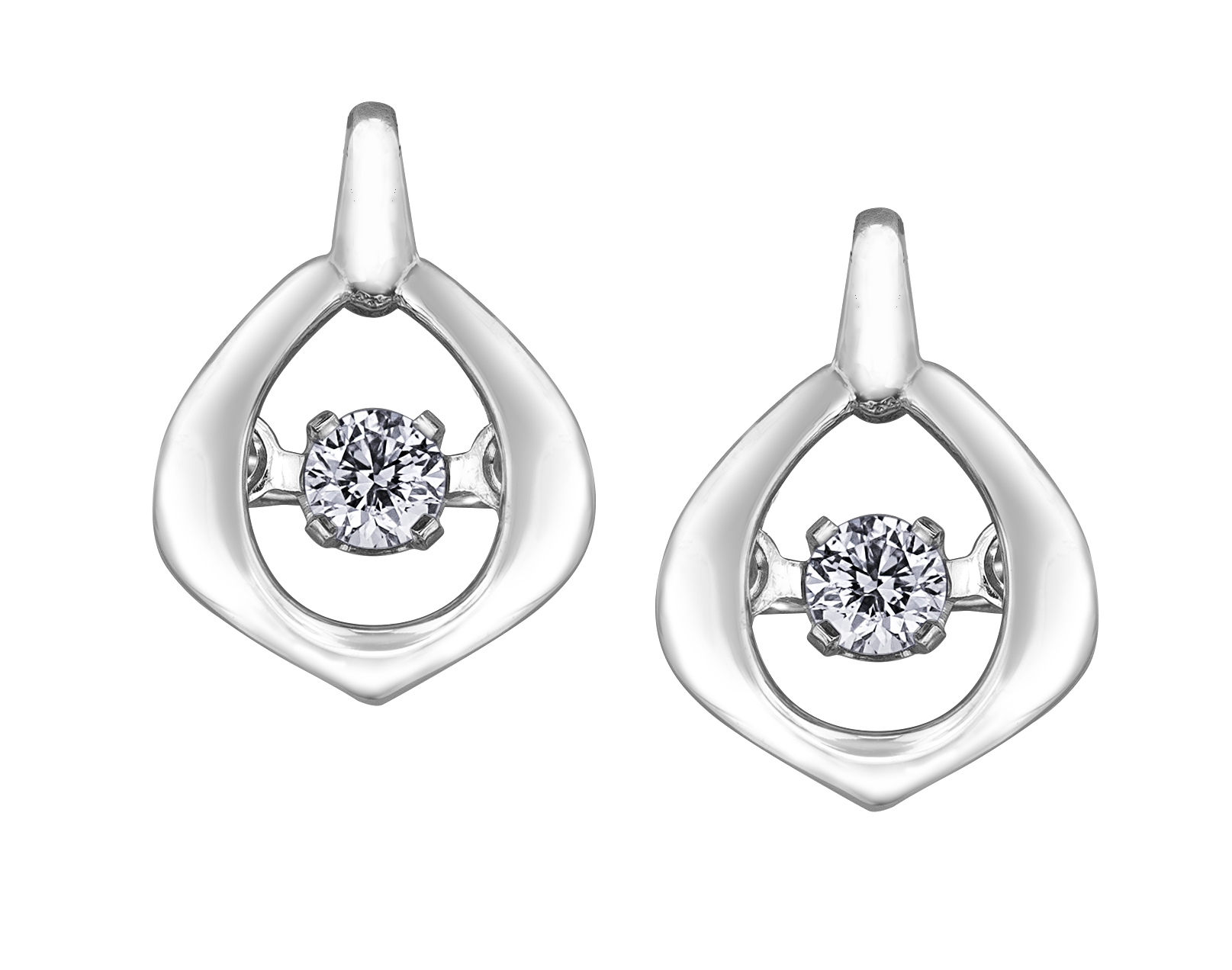Boucles d'oreilles à tiges fixes - Or blanc 10K & Diamants Canadiens totalisant 0.04 Carat