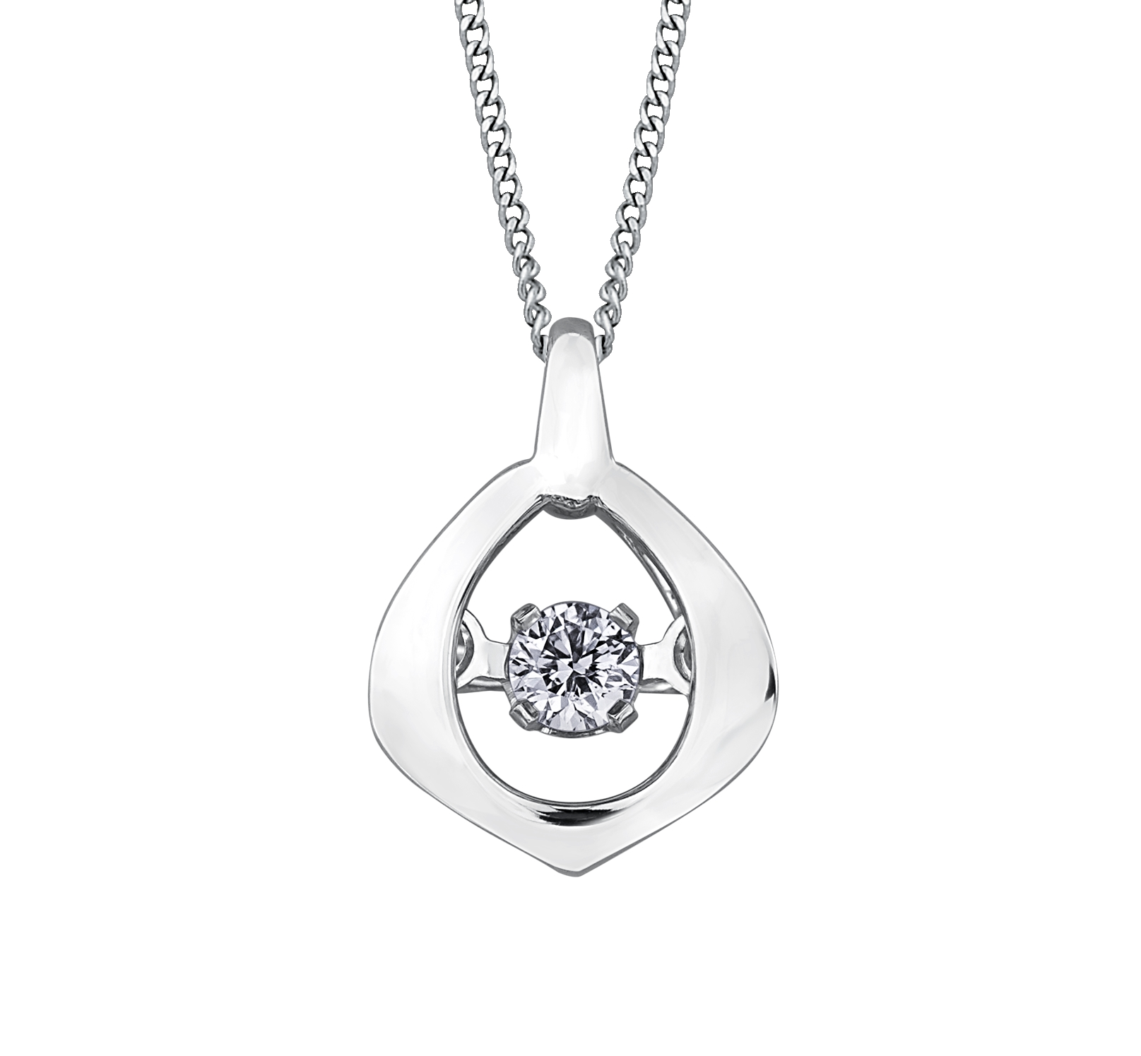 Pendentif - Or blanc 10K & Diamants Canadien totalisant 0.02 Carat