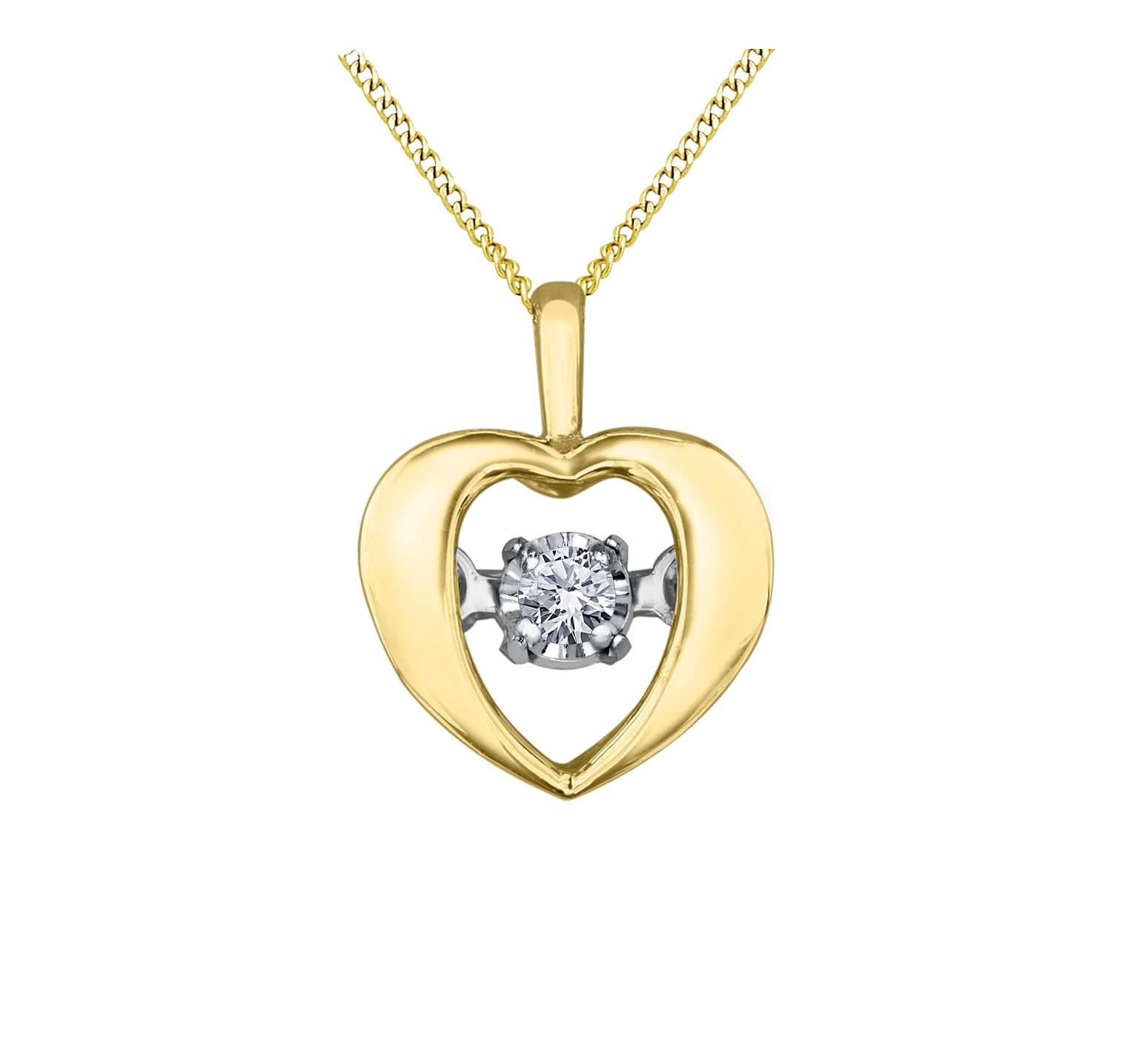 Heart pendant - 10K yellow Gold & Canadian diamond T.W. 0.04 Carat