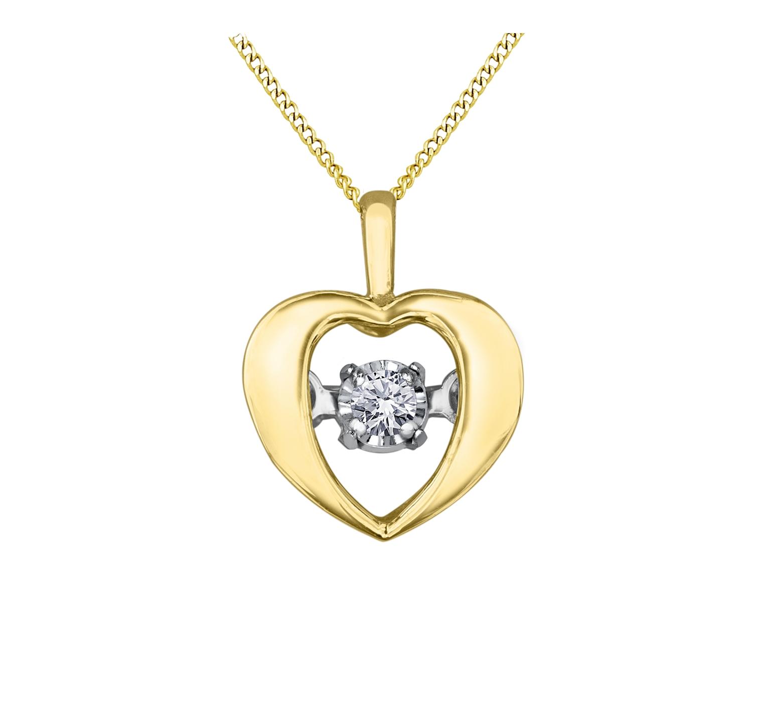 Pendentif coeur - Or jaune 10K & Diamant Canadien totalisant 0.04 Carat