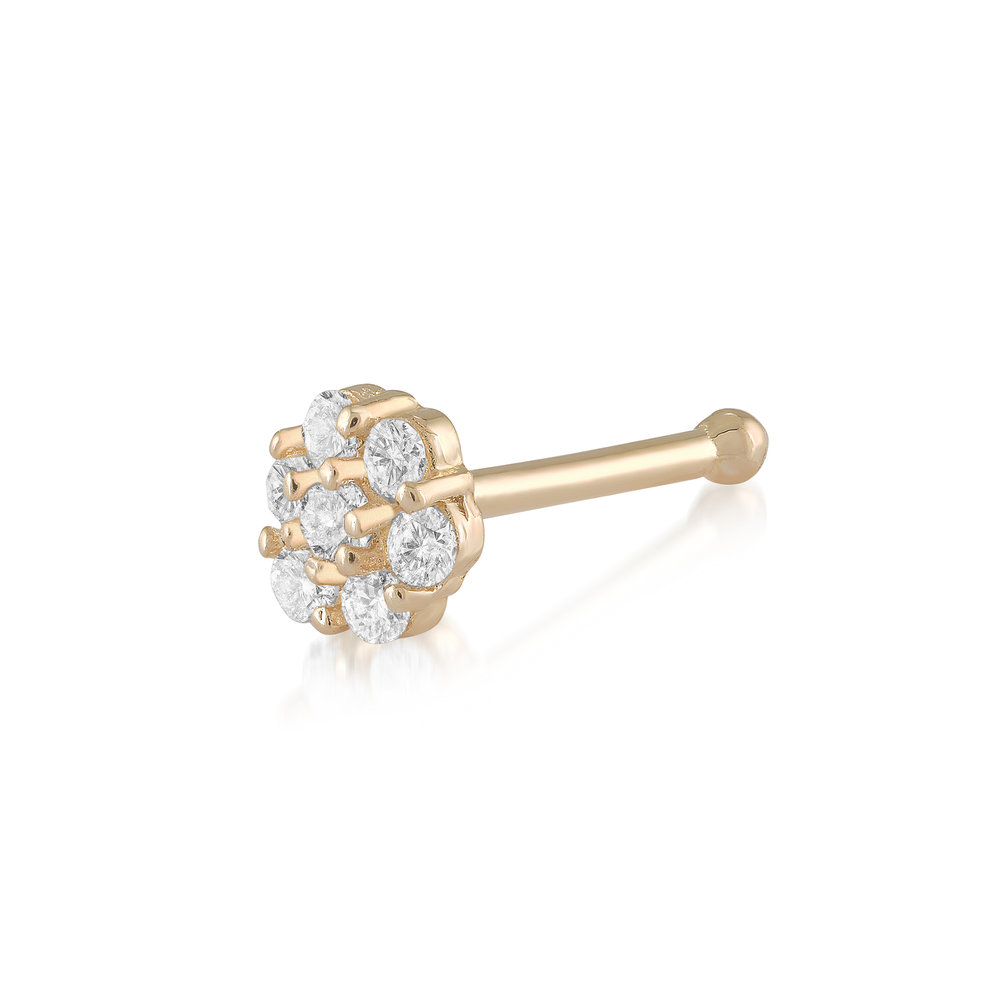 Flower nose stud set with cubic zirconia - 14K yellow Gold