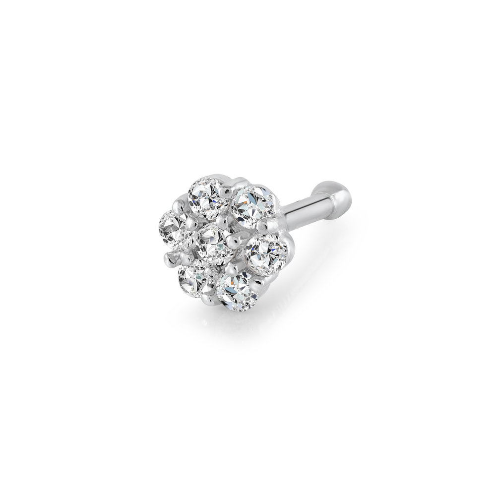 Flower nose stud set with cubic zirconia - 14K white Gold