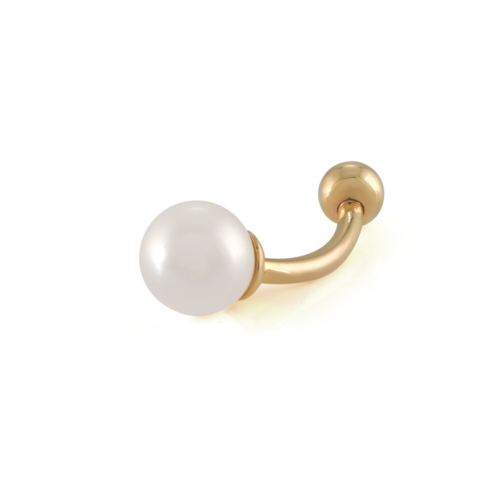 Navel ring set with a pearl - 10K yellow Gold
