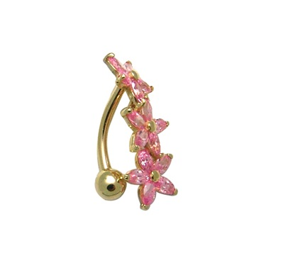 Flowers navel ring set with pink cubic zirconia - 10K yellow Gold