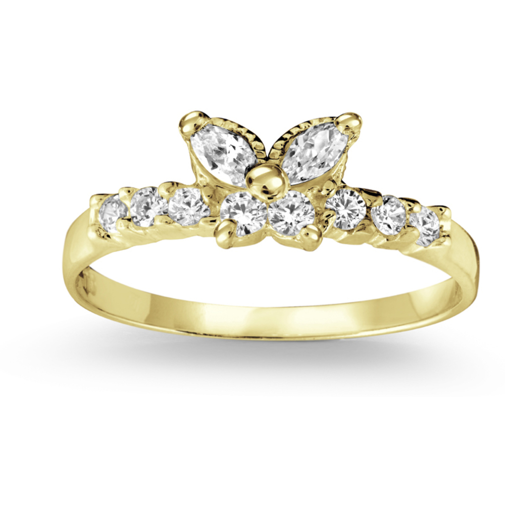 Butterfly ring with cubic zirconia - 10K yellow Gold