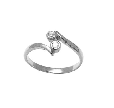 Toe ring for women  - 10K white Gold & cubic zirconia