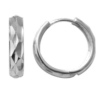 Diamond cut huggies style Earrings - Sterling silver
