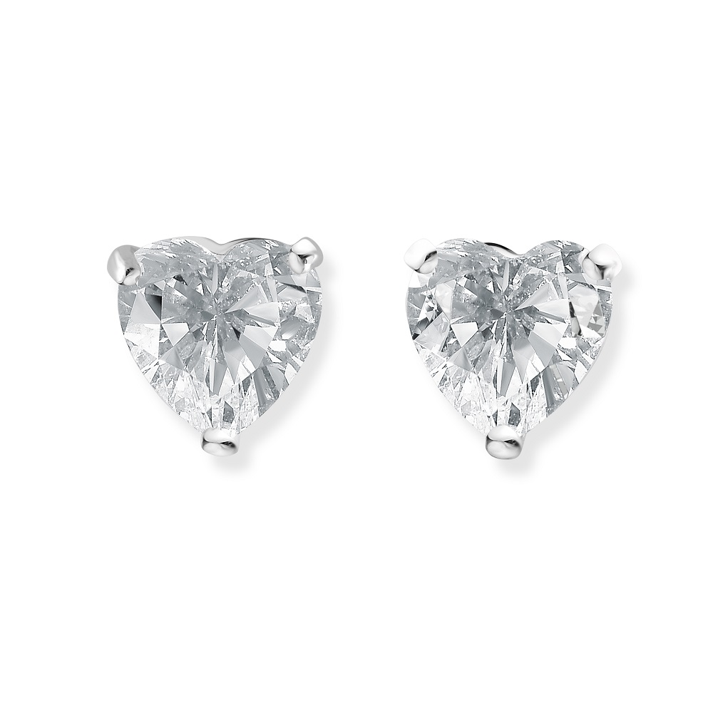 Heart stud earrings for children with cubic zirconia - in 14K white gold