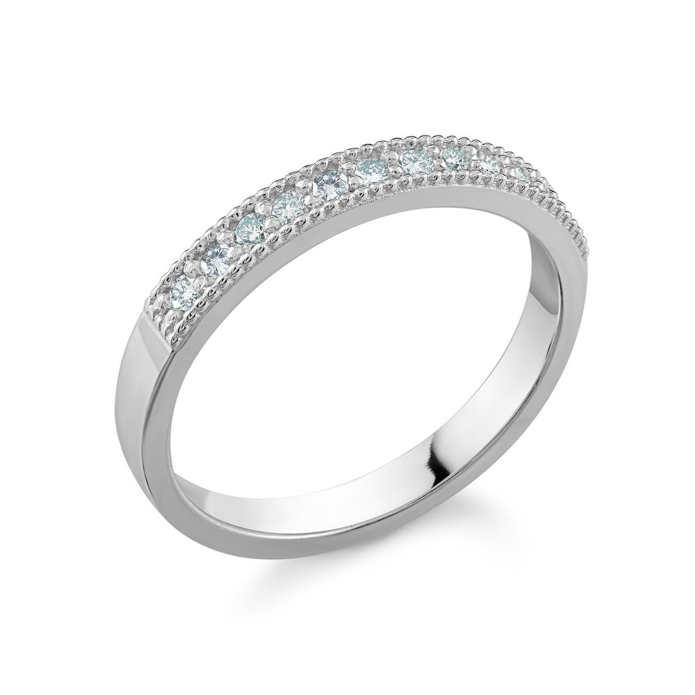 Jonc pour femme - Or blanc 10K & Diamants totalisant 0.22 Carat