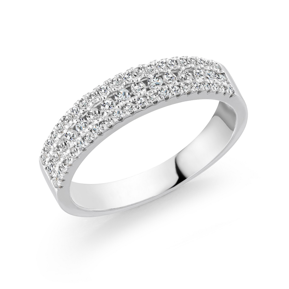 Half-eternity ring for woman - 10K white Gold & Diamonds
