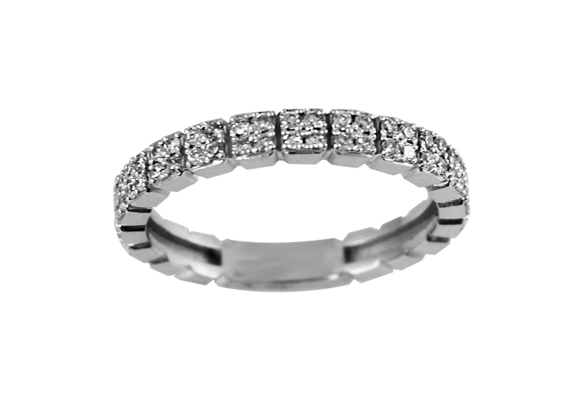 Jonc pour femme - Or blanc 10K & Diamants totalisant 0.46 Carat