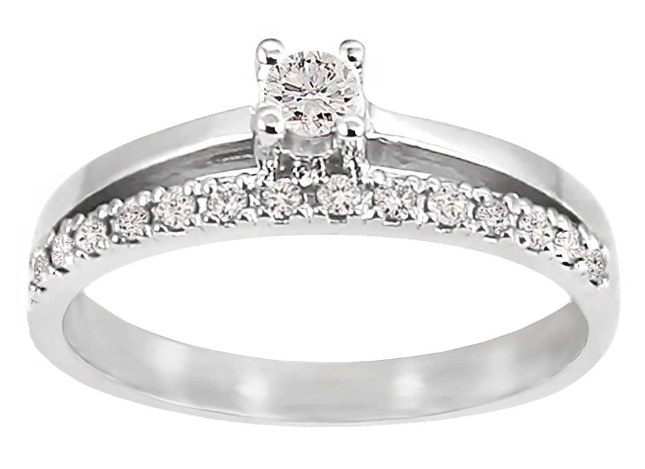 Engagement ring - 10K white Gold & Diamonds T.W. 0.25 Carat