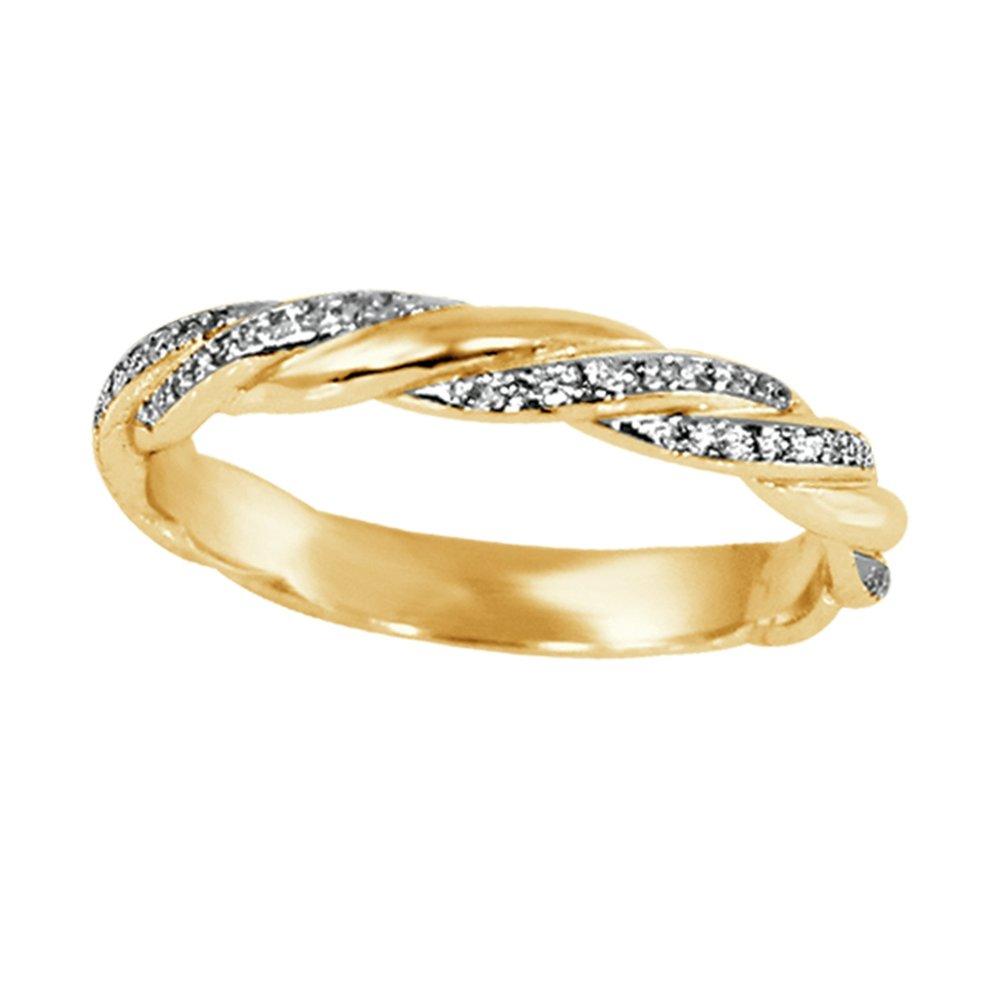 Bague d'anniversaire pour femme - Or jaune 10K & Diamants totalisant 0.20 Carat