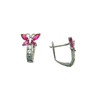 Butterfly earrings set with white/red cubic zirconia - in 10K white gold