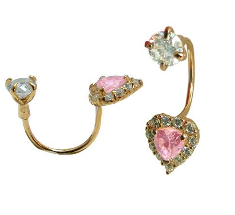 Boucles d'oreilles coeurs à tiges vissées - Or jaune 10K & zircons cubiques blancs/roses