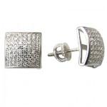 Boucles d'oreilles carrés à tiges vissées en argent sterling serties de zircons cubiques