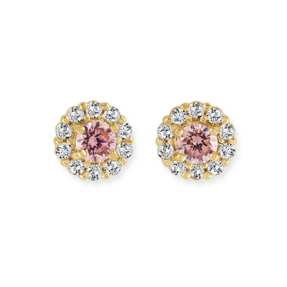 Screw-back stud flower earrings for children - 14K yellow Gold & white and pink cubic zirconia