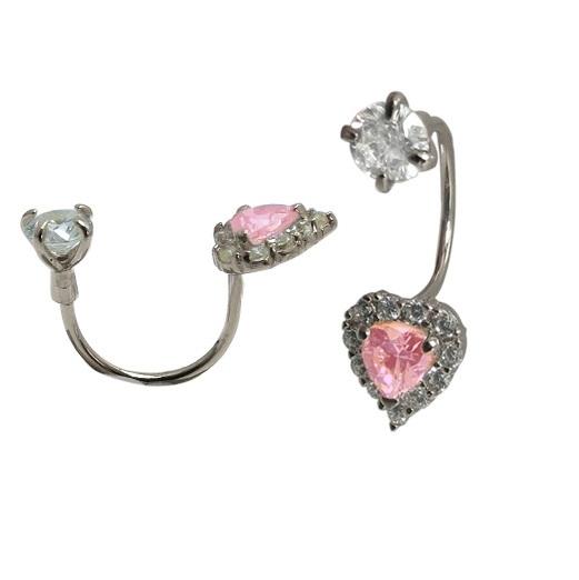 Boucles d'oreilles coeurs à tiges vissées - Or blanc 10K & zircons cubiques blancs/roses