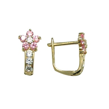Flower earrings set with white/pink cubic zirconia - in 10K yellow gold