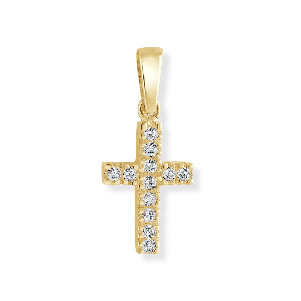 Cross pendant for children set with cubic zirconia - 10K yellow Gold