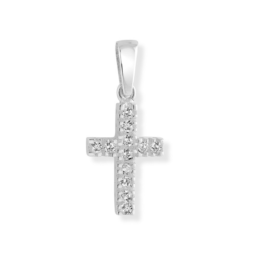 Cross pendant for children set with cubic zirconia - 10K white Gold