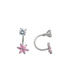 Boucles d'oreilles fleurs à tiges vissée - Argent sterling & zircons cubiques blancs/roses