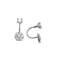 Boucles d'oreilles fleurs en argent sterling  serties de zircons cubiques et à tiges vissées