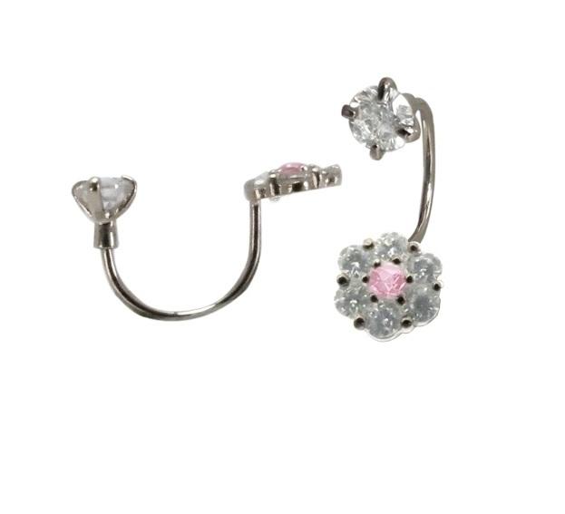 Boucles d'oreilles fleurs en argent sterling  serties de zircons cubiques blancs/roses et à tiges vissées