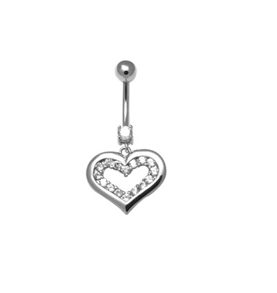 Sterling silver heart navel ring set with cubic zirconia