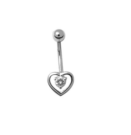 Boucle de nombril coeur en argent sterling sertie d'un zircon cubique