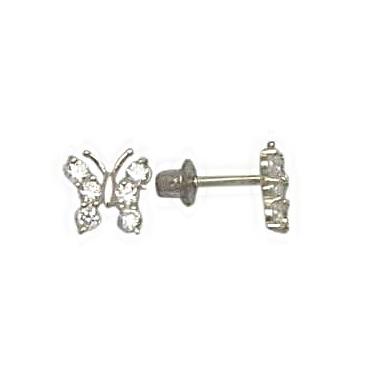 Boucles d'oreilles papillons en argent sterling pour enfants à tiges vissées serties de zircons cubiques