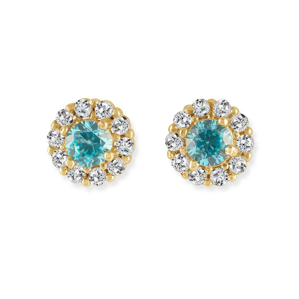 Screw-back stud flower earrings for children set with white and blue cubic zirconia - in 14K yellow gold